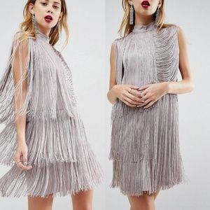 ASOS Fringe Shift Mini Dress Sz 6